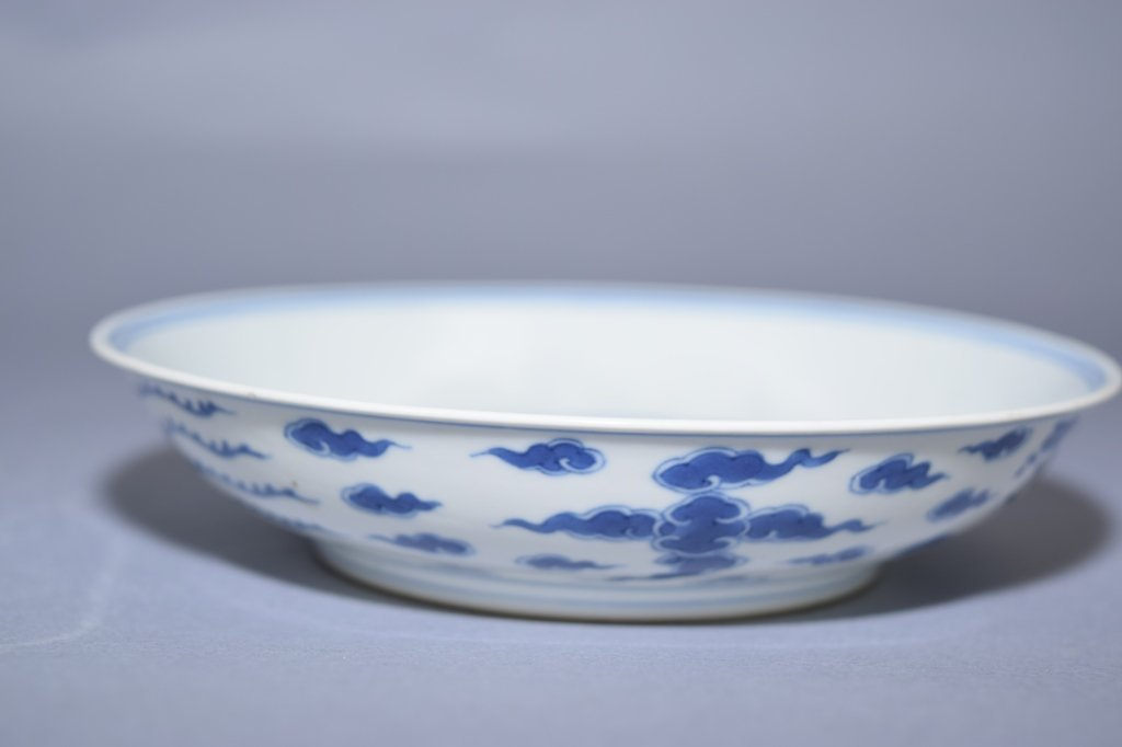 Qing Qianlong Chinese Blue and White Plate, Marked - 3