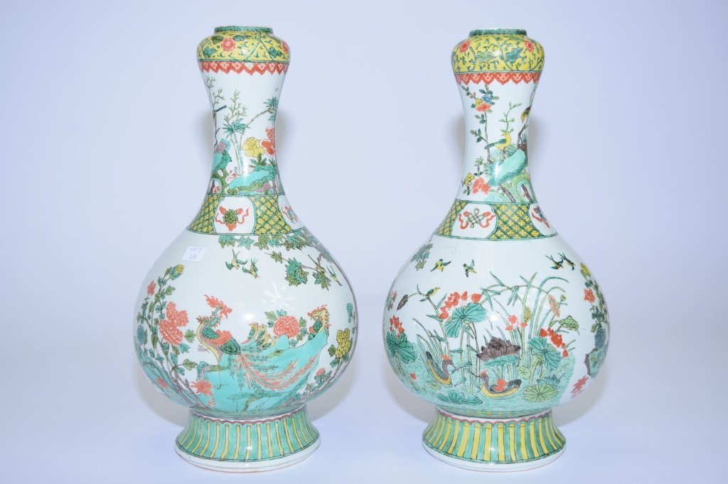 Pair of 20th C. Chinese WuCai Vases