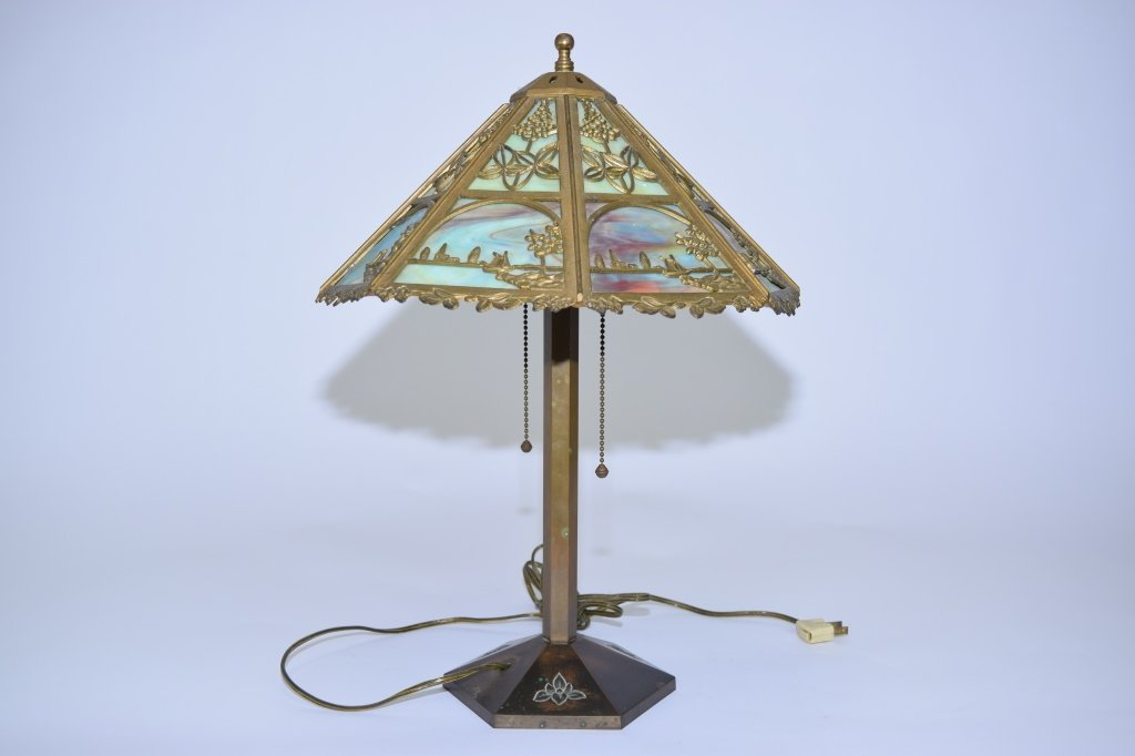 Gilt Bronze Stain Glass Table Lamp