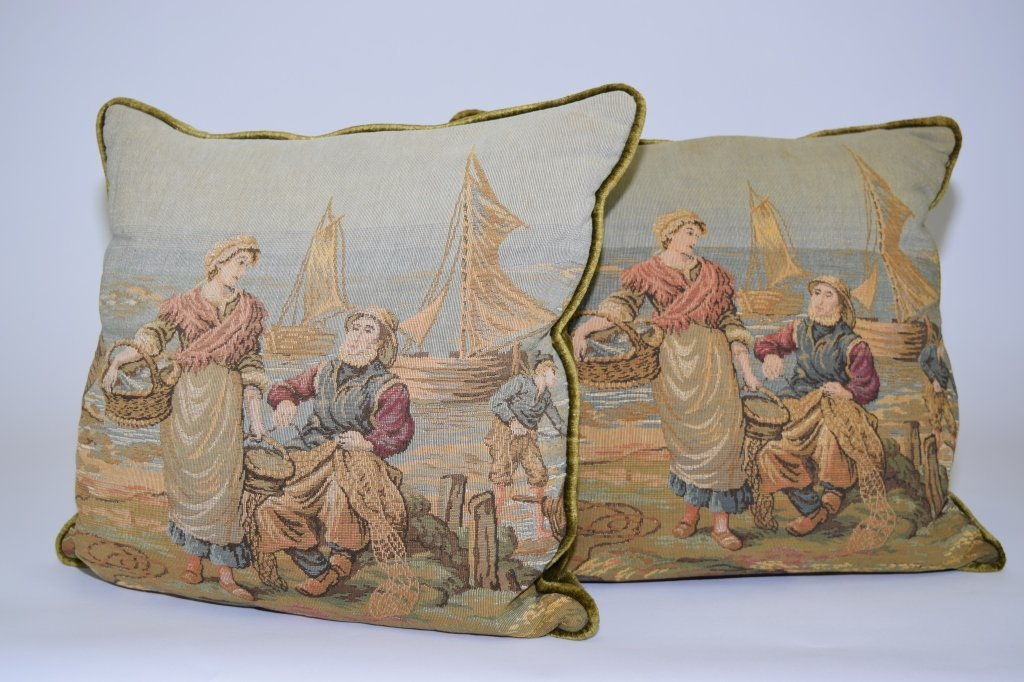 Pair of 19th C. Tapestry Throw Pillows, AS IS