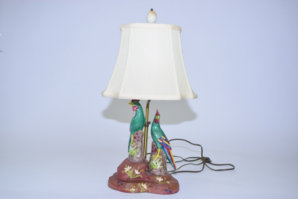 Pair of 19th C. Chinese SanCai Birds on Lamps