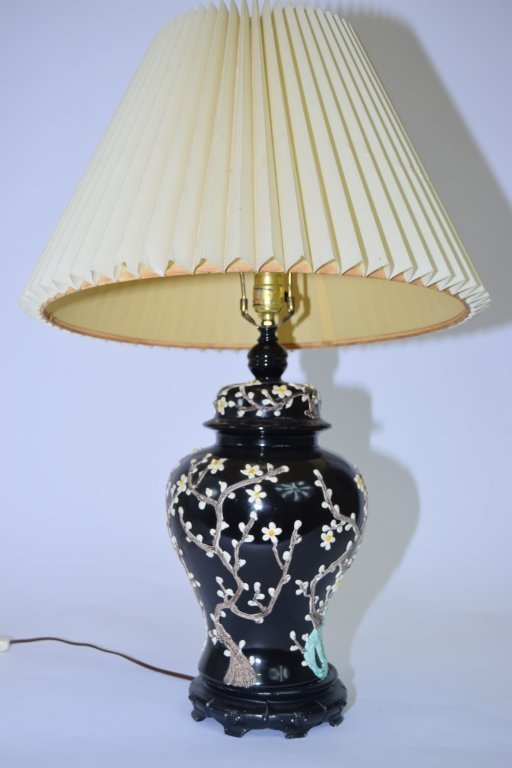 Chinese Famille Noir Covered Jar Lamp