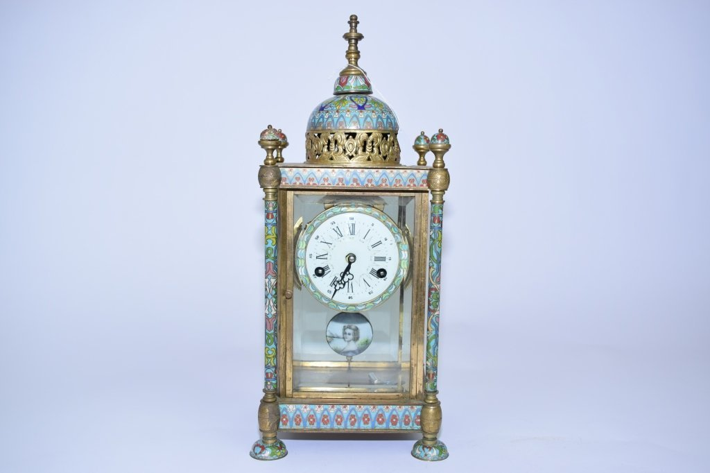 Early 20th C. Cloisonne Mantel Clock