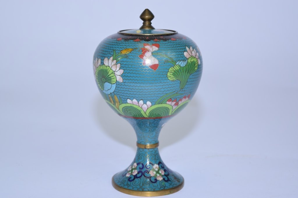 Early 20th C. Chinese Cloisonne Covered Jar