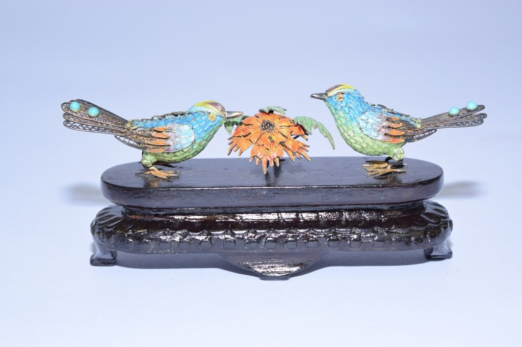 Chinese Enamel over Silver Birds and Flower