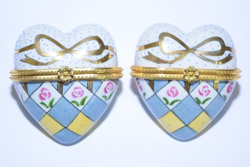 Pair of Porcelain Hand Painted Heart Shape Boxes