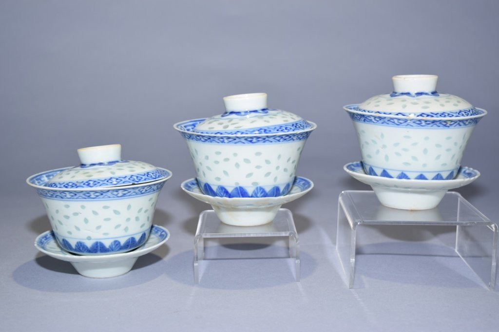 Set of Three Qing Chinese B&W Covered Tea Cups