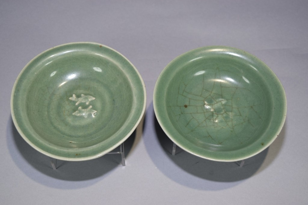 Pair of Ming Chinese Longquan Glaze Plates