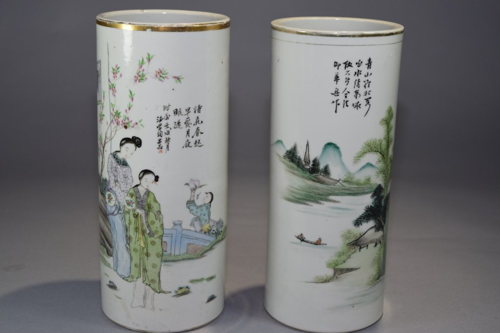 Two 19th C. Chinese Famille Rose Hat Stands