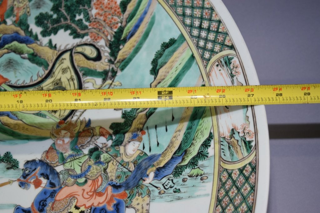 Large 27.5in 19th C. Chinese WuCai Story Scene Plate