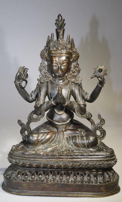 Early Qing Chinese Tibetan Bronze Four-Arm Guanyin