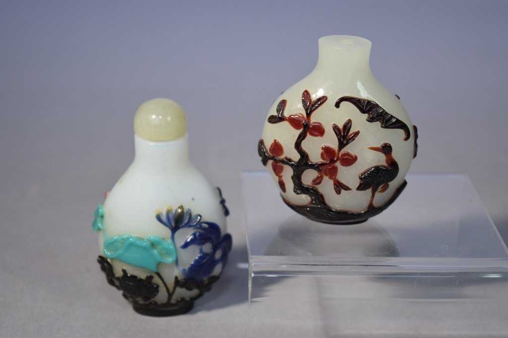 Two 20th C. Chinese Peking Glass Snuff Bottles