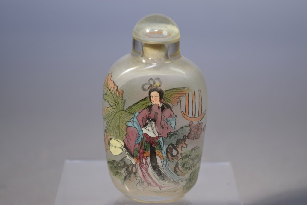 20th C. Chinese Reverse Painted Glass Snuff Bottle