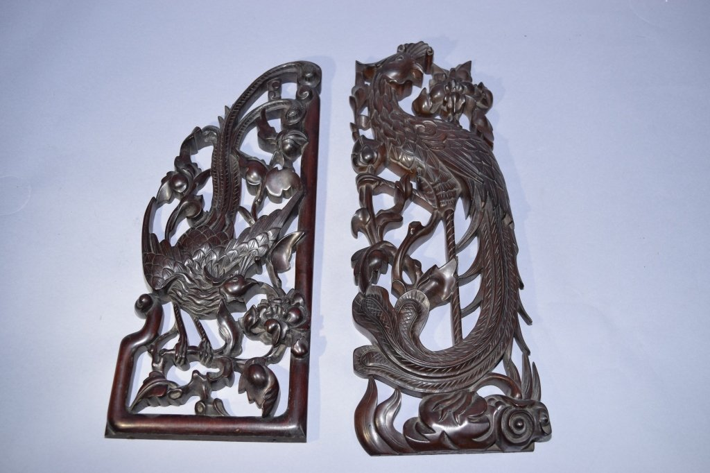 Two 19th C. Chinese Hongmu Carved Pieces