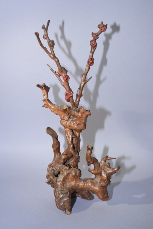 Chinese HuangYang Wood Carved Plum Branch
