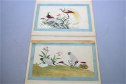 Two Qing Chinese Watercolor on Rice Paper