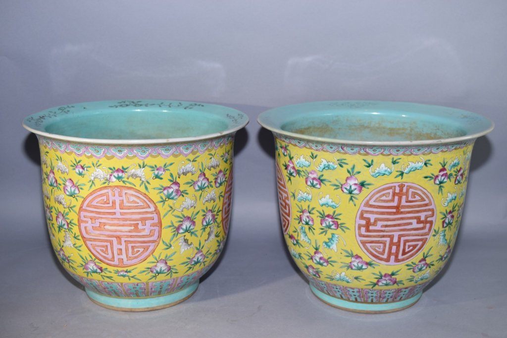 Pair of 19th C. Chinese Famille Rose Flower Pots