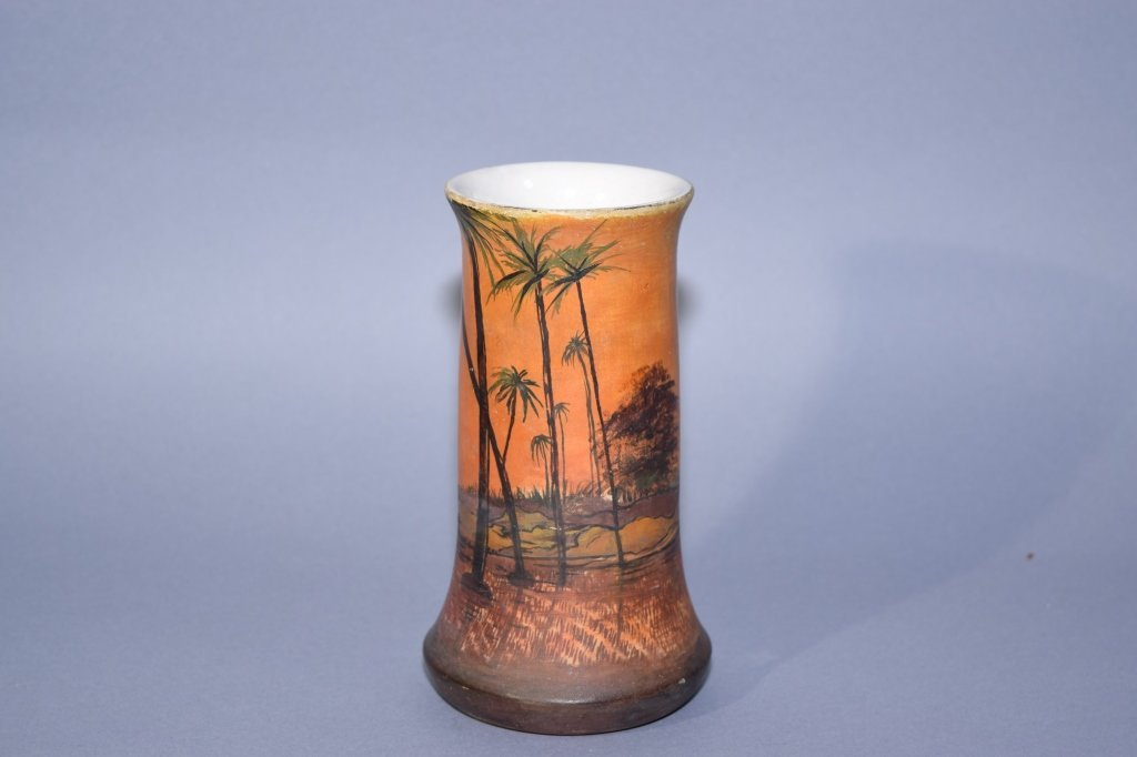 Hand Painted Pottery Vase, Marked
