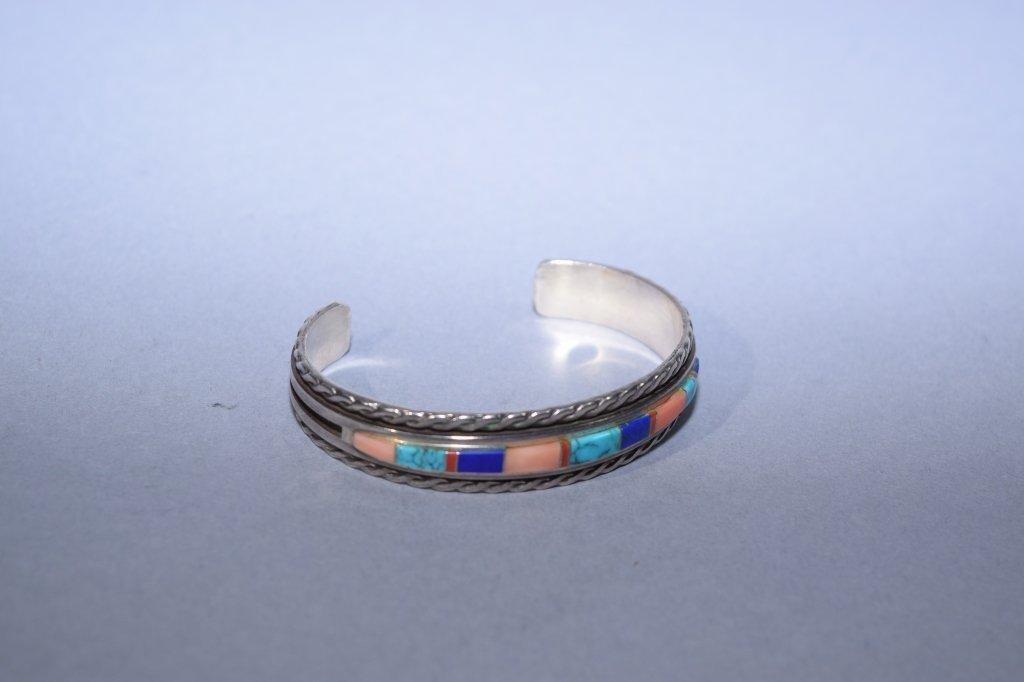 Vintage WM Navajo Sterling Silver Cuff Bracelet