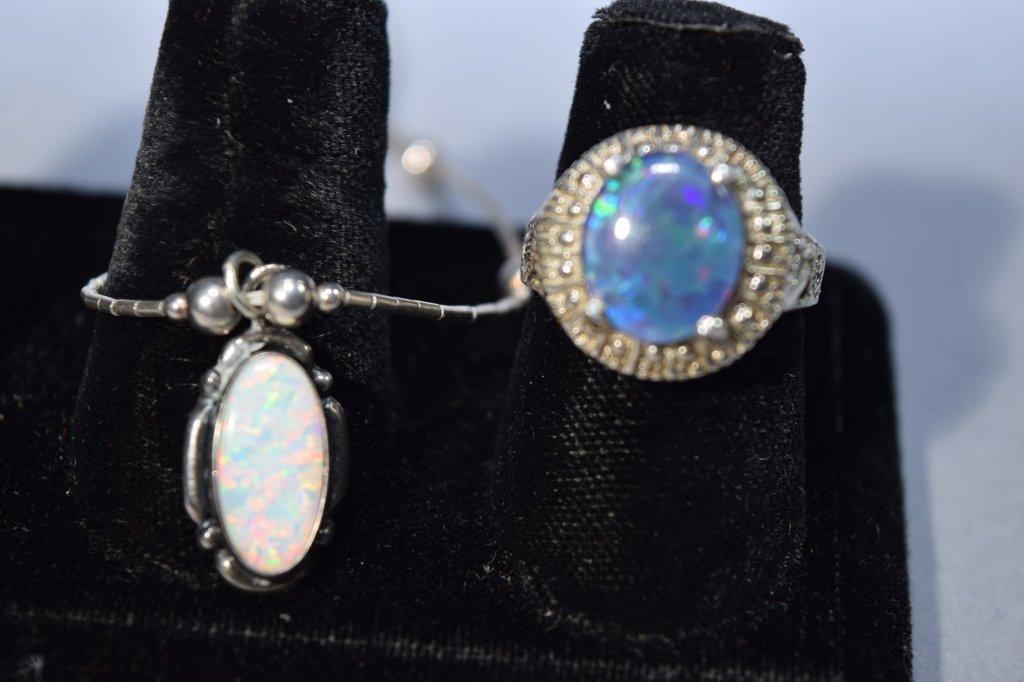 Two Opal Sterling Silver Jewelry