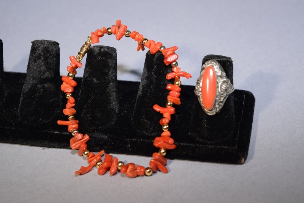 Coral Ring and Bracelet