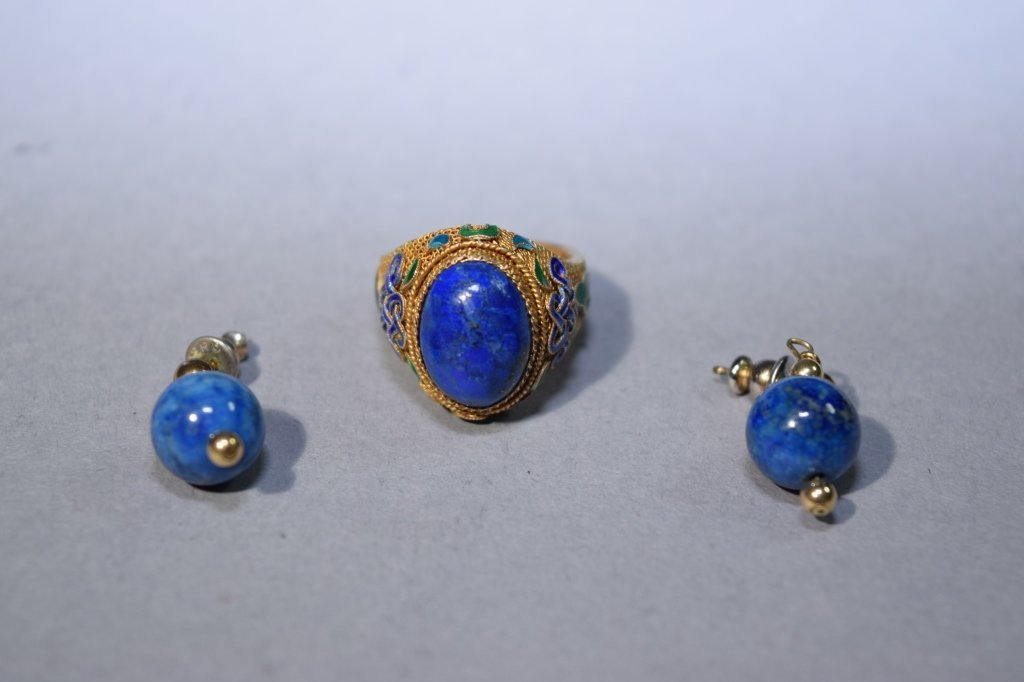Lapis Lazuli Ring and Pair of Earrings