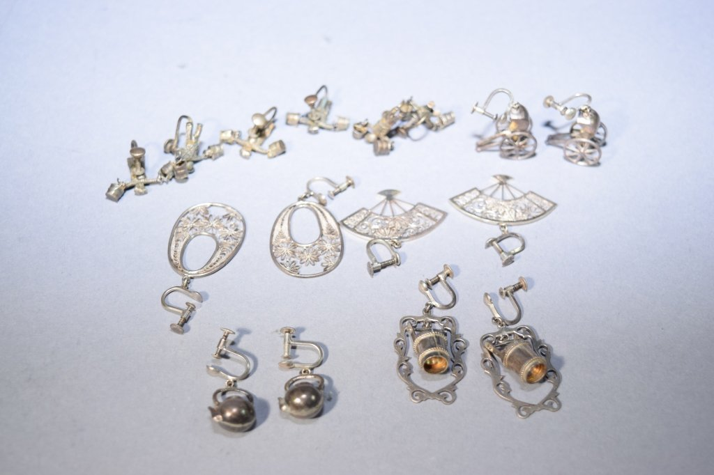Eight Pairs of Silver Earrings