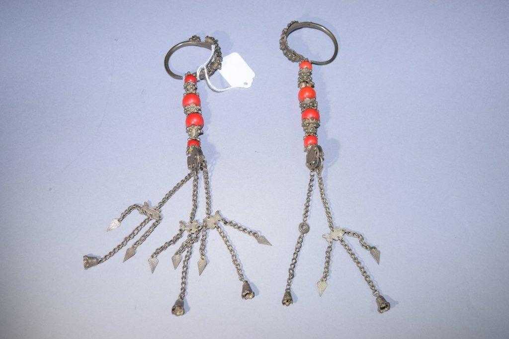 Pair of Tibetan Silver Earrings