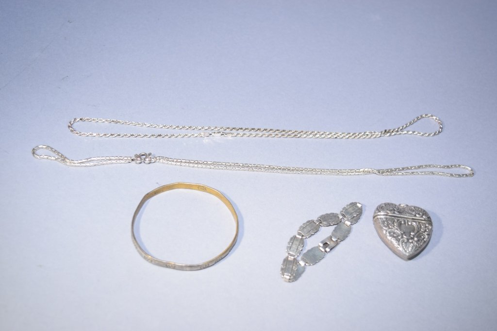 Group of Five Silver Jewelry