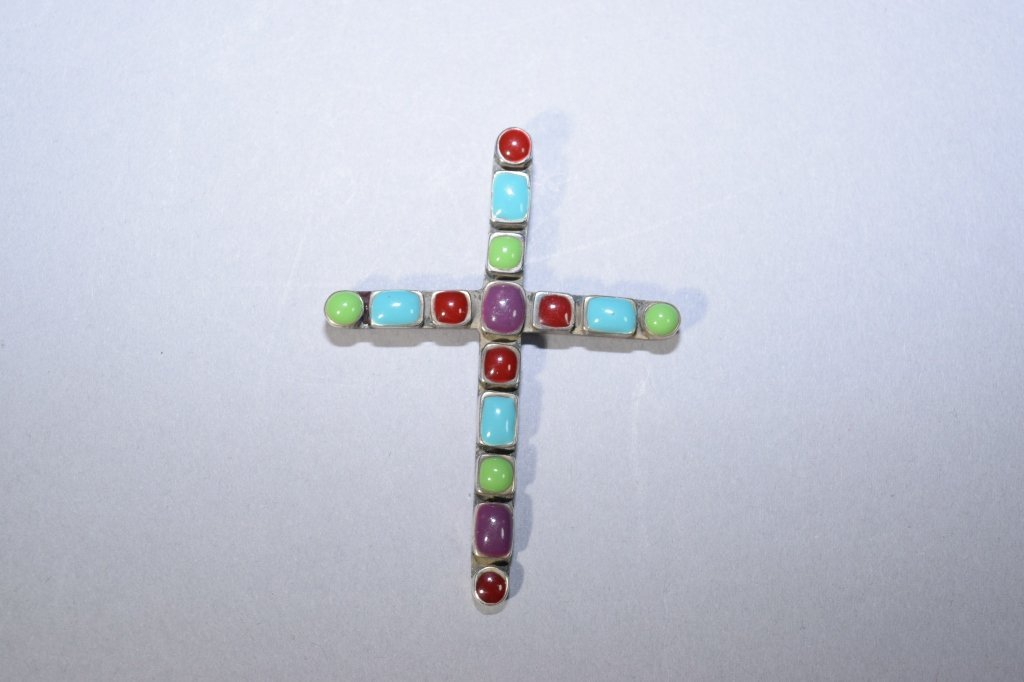 Vintage Mexican 925 Silver Cross Brooch