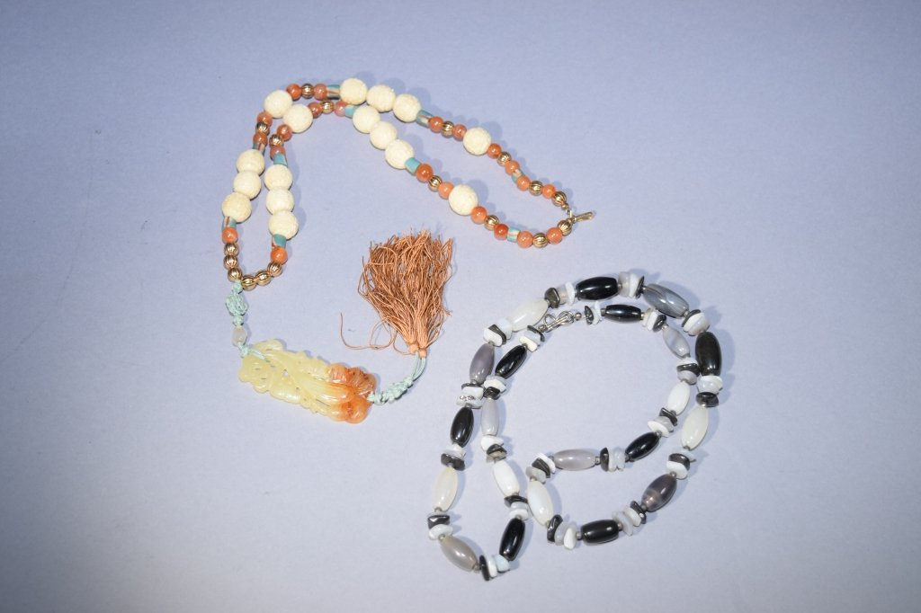 Dark Agate Necklace and Jade Pendant Necklace