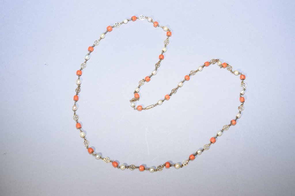 Coral and Pearl Bead Necklace