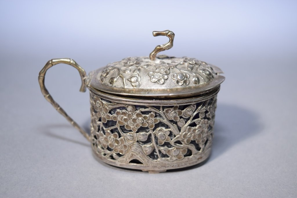 Chinese Silver Covered Box, Marked