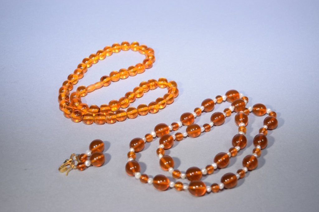 Two Amber Necklaces and Pair of Earrings