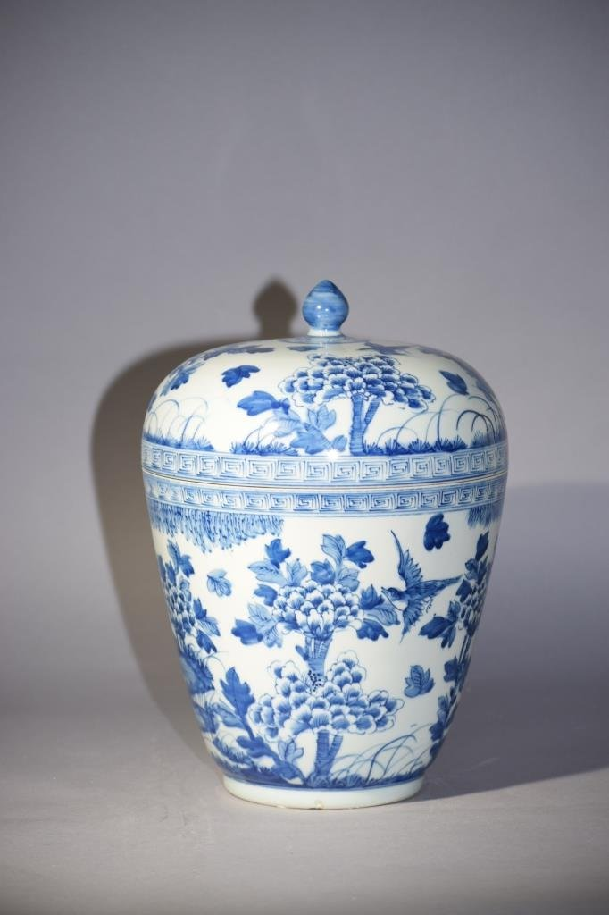 19th C. Chinese Blue and White Covered Jar