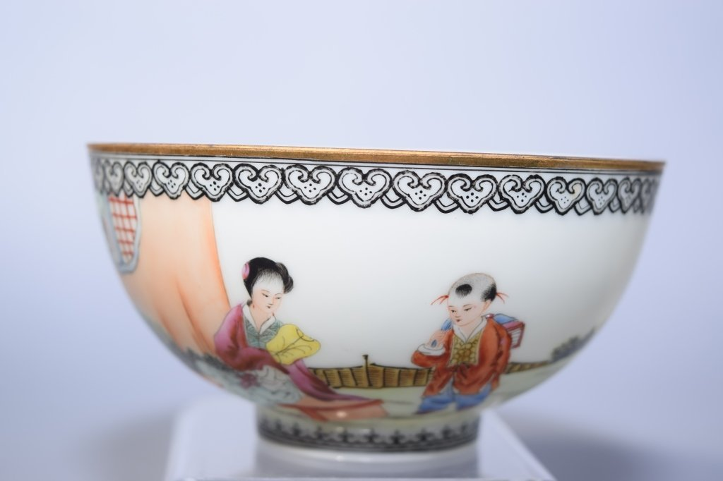20th C. Chinese Egg Shell Famille Rose Bowl