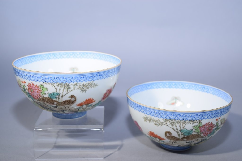 Pair of 20th C. Chinese Famille Rose Egg Shell Bowl