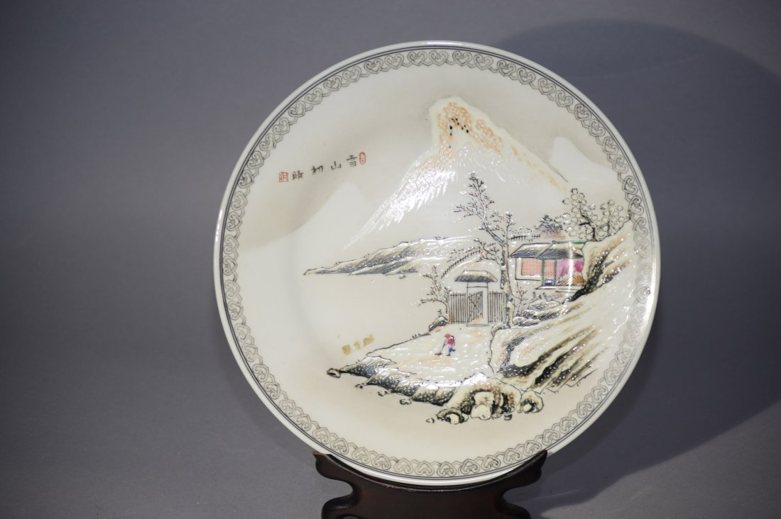 20th C. Chinese Famille Rose Snow Landscape Plate