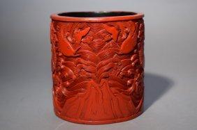 19th C. Chinese Cinnabar Carved Brush Pot