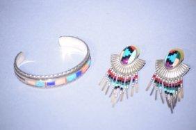 Vintage Navajo Sterling Silver Bracelet & Earrings