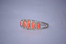 Vintage Navajo Sterling Silver Coral Bracelet