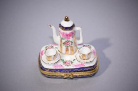 Vintage Limoges France Tea Set Trinket Box