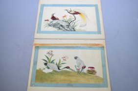 Two 19th C. Chinese Watercolor On Rice Paper