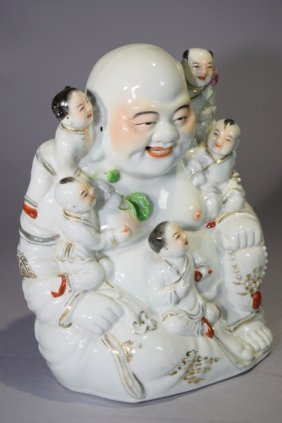 Republic Chinese Famille Rose Buddha And Boys