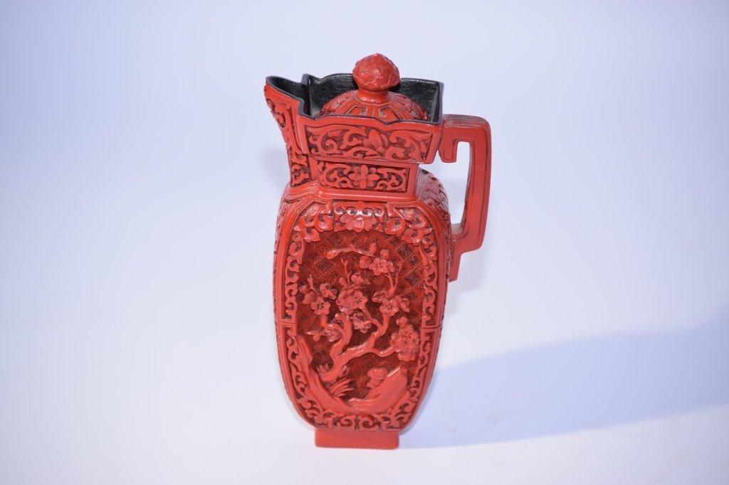 Chinese Cinnabar Wine Pot