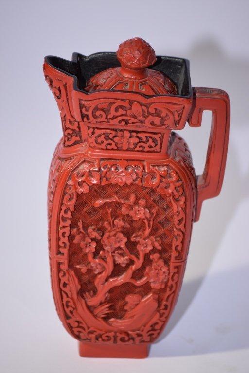 Chinese Cinnabar Wine Pot - 2