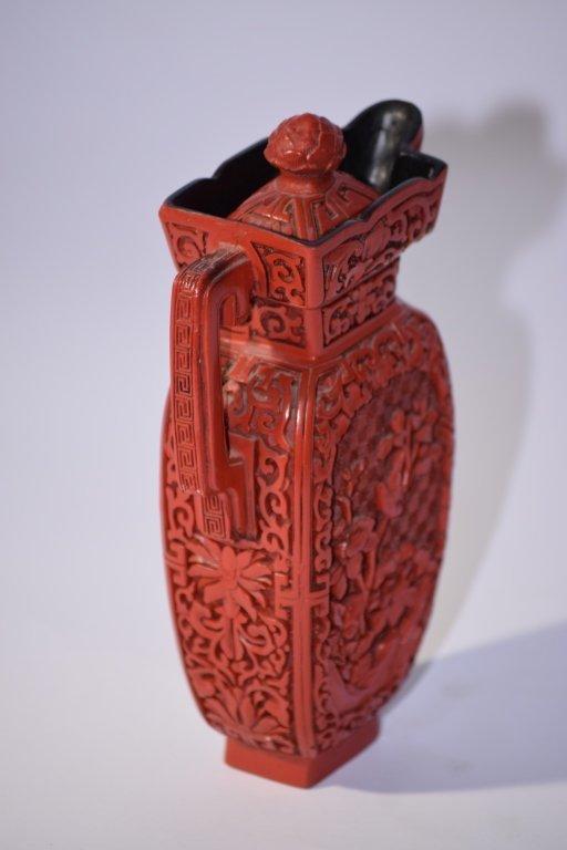 Chinese Cinnabar Wine Pot - 4