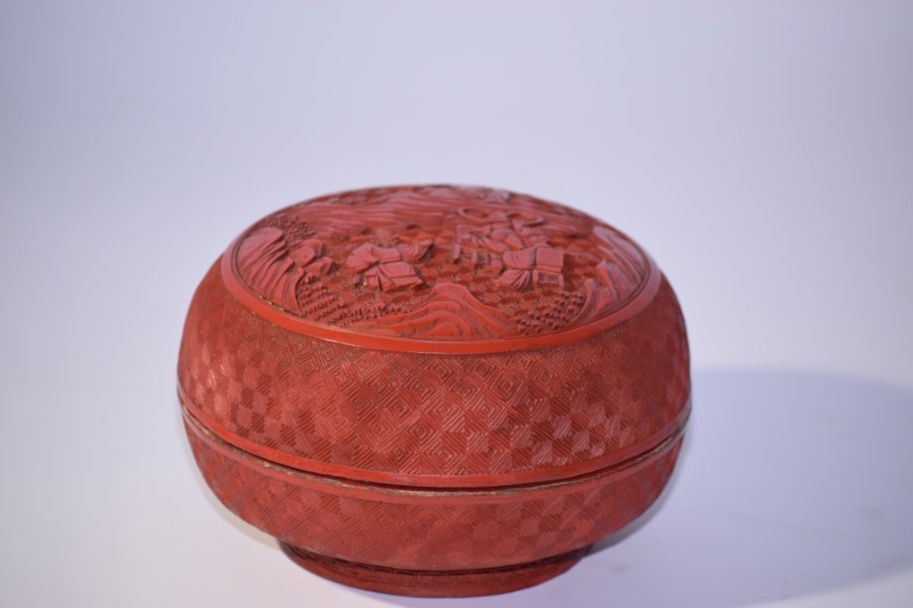 19th C. Chinese Cinnabar Carved Box