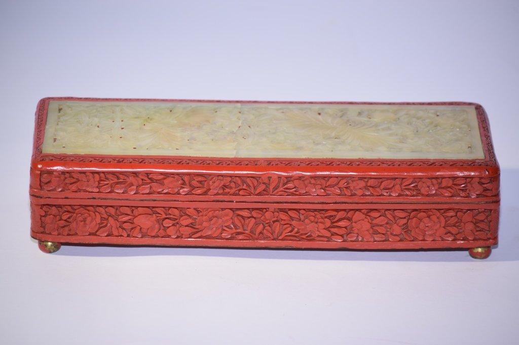 19th C. Chinese Cinnabar Inlaid Jade Box