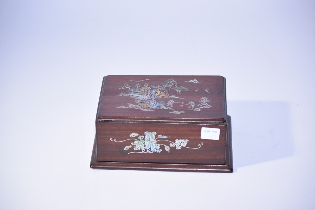 Chinese Wood Carved Inlaid Box